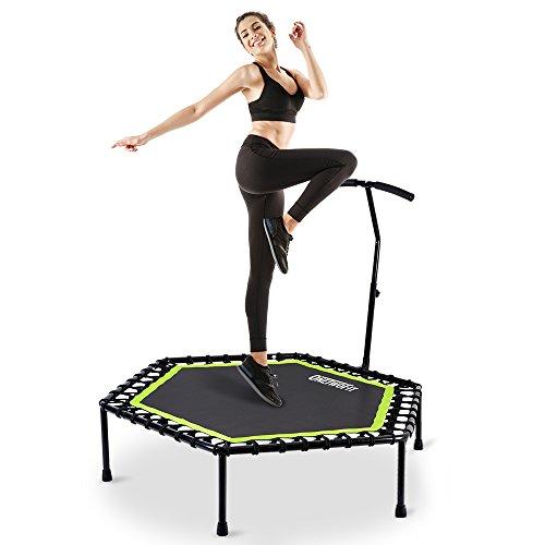 OneTwoFit 122cm Leises Mini Trampolin mit verstellbarem Lenker für Erwachsene Cross fit Fitness Bungee Rebounder Jumping Cardio Trainer Workout OT064