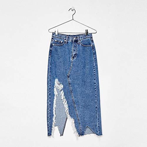 Asymmetrische Jeans-rock (FSDFASS Röcke Asymmetrisch mit Einem Schlitz Jean Rock Casual Empire Einzelne Herbst für Frauen Neuankömmling)