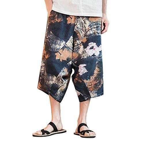 Hehgek Herren-Hose, Übergröße, Retro-Stil, Broken-Blumen-Hose, sehr locker geschnitten, mit Taschen Gr. one Size, Schwarz -