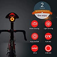 Smart Bike Tail Light Ultra Bright, Bike Light Rechargeable Auto On/Off, IPX6 Waterproof LED Bicycle Lights, High Intensity Rear LED Accessories Fits On Any Road Bikes (Black)
