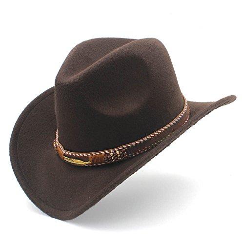 SSLA - Sombrero de Cowboy - para Mujer Marrón café 56-58 cm