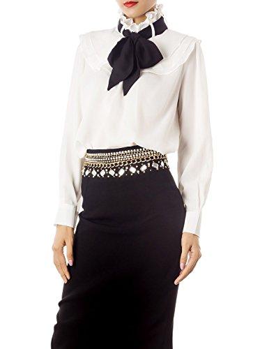 iB-iP Damen Schleife vorn Taille Hemd Weiß