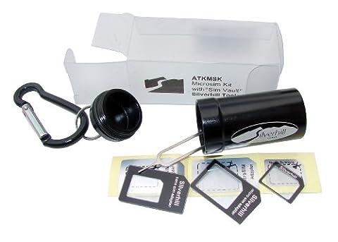 Silverhill Tools ATKMSK Micro and Nano SIM adapter set for smart phones, including Sim Vault