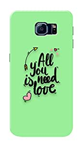 Samsung Galaxy S6 Edge Black Hard Printed Case Cover by Hachi - All You Need Is Love Design