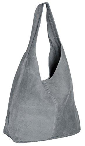 ImiLoa Lederhandtasche Groß Handtasche Damen Shopper Grau - Leder Beuteltasche - Wildleder Tasche Ledertasche DIN-A4