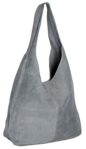 ImiLoa Lederhandtasche Groß Handtasche Damen Shopper Grau - Leder Beuteltasche - Wildleder Tasche Ledertasche DIN-A4 (Leder Grau Handtaschen)