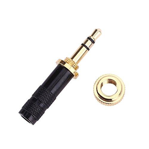 3,5-mm-audio-plug (Cewaal Haihuic 3 Pole 3,5-mm-Klinkenstecker Schraubschloss Gold-Repair Audio Plug für Sennheiser Kopfhörer)