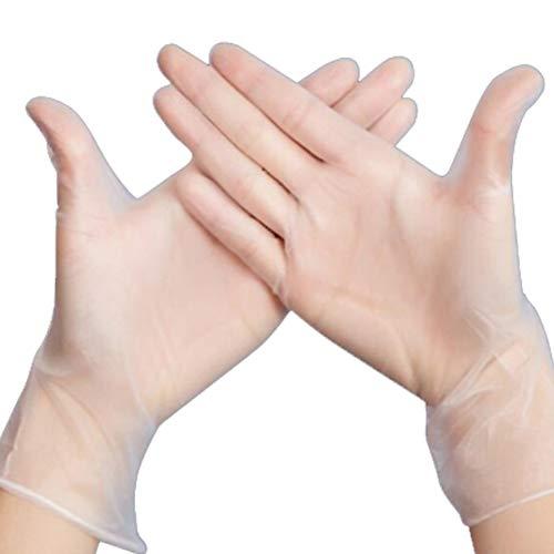 guanti lattice colorati Lionina 100pcs Guanti USA e Getta Trasparenti in PVC Senza Lattice-Guanti per Uso Domestico Ristorante Cucina Cucina Cottura Cleaing