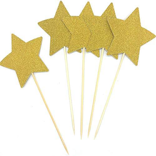 winkle Little Star Cupcake-Topper Glitzer Gold Party Kuchen Dekorationen DIY Glitter Mini Geburtstag Kuchen Weihnachten Zubehör ()