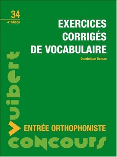 Exercices corrigés de vocabulaire