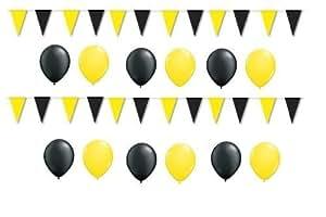 BUDILA® Dekoset gelb-schwarz 20 Luftballons und 1 Wimpelkette 10m lang