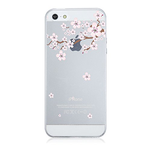 Coque iPhone 5/5S/SE,Vanki Housse Transparente iphone Etui Silicone ,Flexible Lisse Housse TPU Souple Etui de Protection Silicone Case Soft Gel Cover Anti Rayure Anti Choc pour Iphone5/5S/SE (8) Flower 4