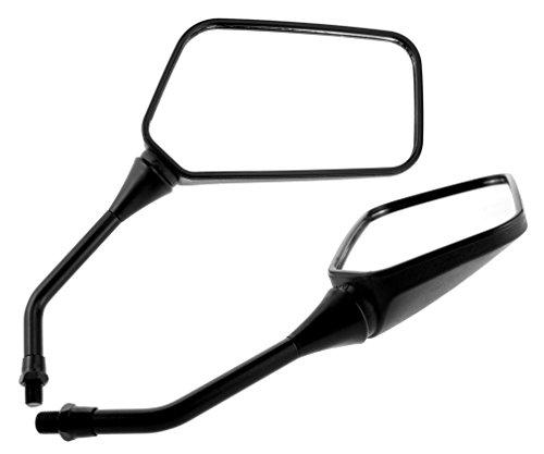 2x Universal Spiegel BOOSTER, schwarz, M10 Rechtsgewinde, Linksgewinde f. Yamaha, Nylon/ABS, Motorrad Spiegel 360 Grad Schwenkbar