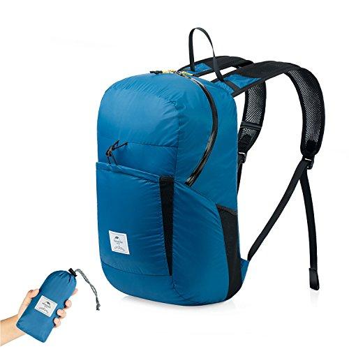 Faltbare Rucksack Ultraleicht Wasserdicht Wandern Daypack von Naturehike, Kleiner Rucksack Dauerhaft Handliche Faltbare Tagesrucksack für Klettern Camping Rucksack Radfahren Reisen (Blau-Upgraded)