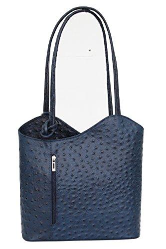 AMBRA Moda Damen Handtasche Lederrucksack Rucksacktasche Backpack 2in1 Rucksack Schultertasche SL703 (Dunkelblau) (Straußenleder-tasche)