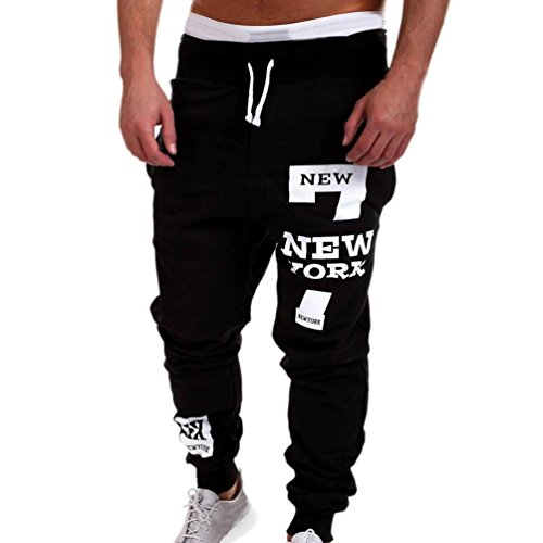 Hosen Herren, Sunday Mens Baumwolle Fashion Hosen Männer Hosen Casual Hosen Sweatpants Sportshosen 2018 (Schwarz, L) (Skinny Leg Jeans Taille Straight)