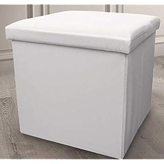 Ashley Mills New Ottoman Foldaway Storage Blanket Toy Box Faux Leather White