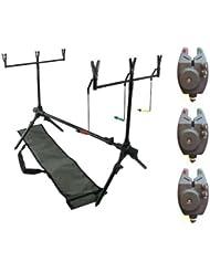 DD-Tackle - Rod Pod para pescar carpas (incluye 3 indicadores de picada, 2 soportes de caña de pescar Buzz-Bar, 6 fijaciones para cañas de pescar y bolsa)