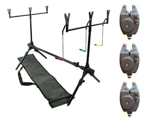 DD-Tackle – Rod Pod para pescar carpas (incluye 3 indicadores de picada, 2 soportes de caña de pescar Buzz-Bar, 6 fijaciones para cañas de pescar y bolsa)
