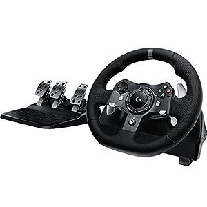 Logitech G920 Driving Force Gaming Rennlenkrad, Zweimotorig Force Feedback, 900° Lenkbereich, Leder-Lenkrad, Verstellbare Edelstahl Bodenpedale, Xbox One/PC/Mac – schwarz