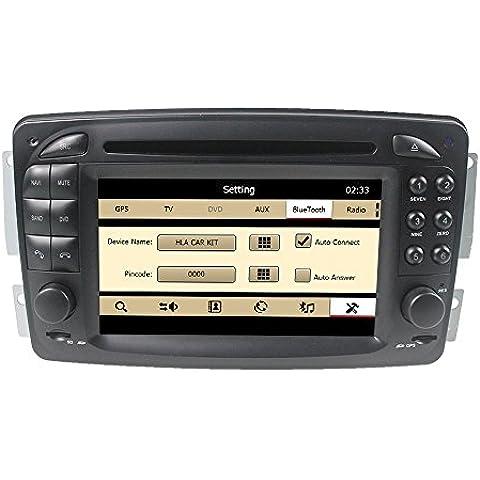 LIKECAR Consola de navegación para coche, 6,2pulgadas, GPS, DVD, estéreo, radio de coche para Mercedes Benz Vaneo (2002-2005), Viano (2004-2011), Vito (2004-2006), E-W210 (1998-2002.1), C-W203 (2000-2005), A-W168 (1998-2002.1), SLK-W170 (1998-2002.1), CLK-C209 W209 (1998-2004.5), CLK-C208 W208 (1996-2008), M/ML-W163 (1998-2002.1), G-W463 (1998-2004), con pantalla táctil HD, WinCE 6.0,800MH, 256MB, control en volante, navegación, iPod, 1080P, Bluetooth, USB, RDS, Dual Zone, menú en