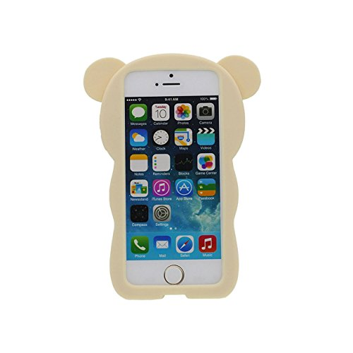 iPhone SE Hülle Schön Bär Gestalten Serie Slikon Gel [ Glatte Oberfläche ] Super Weich Cartoon Tier Case Schutzhülle für Apple iPhone 5 iPhone 5S 5C Hülle - Pink hellgelb