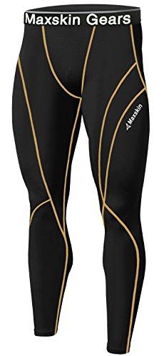 Nuovo uomo pelle calze a compressione Base strato sport corsa pantaloni lunghi MSP002 BLACK Large
