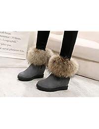JUWOJIA La Mujer Botas De Nieve De Invierno Casual Zapatos De Tacones De Plataforma Incrementada,2,36