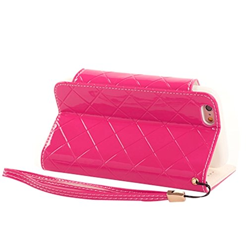 Phone case & Hülle Für IPhone 6 / 6S, Wallet Style Diamond verkrustete Ledertasche mit Lanyard & Card Slots & Geld Tasche ( Color : White ) Magenta