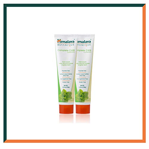 Himalaya Botanique Toothpaste - Natürliche Zahnpasta ohne Fluorid, SLS, Gluten & Carrageenan - Entfernt Plaque, Mundgeruch, verhindert Karies und Zahnfleischbluten (Simply PEPPERMINT, 2-Pack SAVER) -