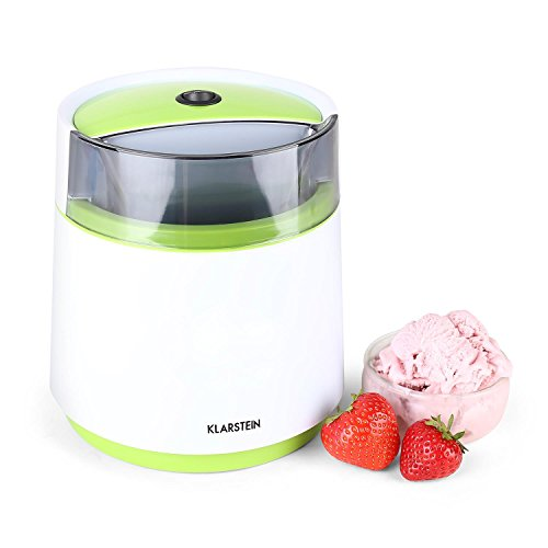 Klarstein Bacio Verde - Eismaschine, Speiseeismaschine, Eisbereiter, Frozen Yogurt, 7 Watt, 0,8 Liter Fassungsvermögen, doppelwandiger Thermobehälter, 30 min Rührdauer, grün