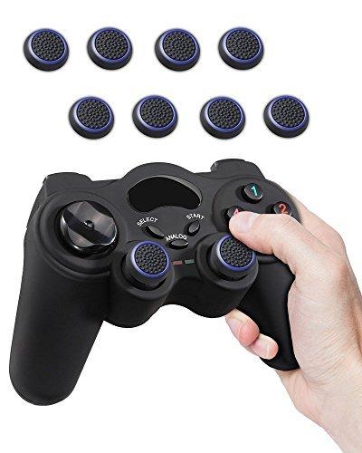 Fosmon (8 pack) Analogstick Kappen Joystick Silikon Aufsätze Schutzkappen Dualshock Controller Thumbstick Griffe Thumb Grips für PS4   PS3   Xbox ONE /ONE S/360   Nintendo Wii U (Schwarz und blau)