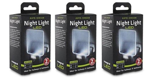 Price comparison product image 3 x Integral Plug In LED Night Light Auto Sensor Super Low Energy Light Eco