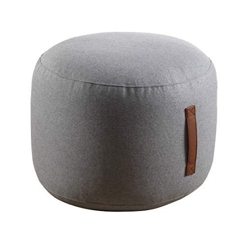 Coninx Sitzpuff | Sitzhocker aus 100% Wolle | Sitzkissen Rund Gefüllt mit Polyestyrolkugeln | Hellgrau | Inkl. praktischem Ledergriff | Maße 50 cm x 40 cm |