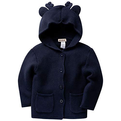 f1fa0c539bdc73 Zoerea Bambino maglia Cardigan Maglione Alce orecchio Felpe con cappuccio  Manica lunga Cappotto Blu,2A