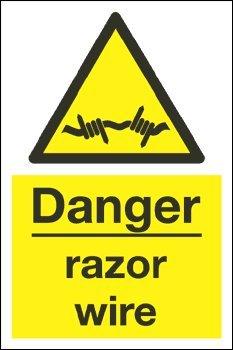 """Warnzeichen mit Aufschrift """"Danger razor wire"""" (1mm Hartplastik/200x 300mm)"""