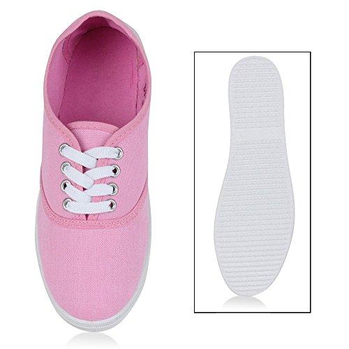 Sportliche Damen Herren Sneakers | Unisex Basic Freizeit Schuhe | Schnürer Stoffschuhe | Prints viele Farben Hellpink