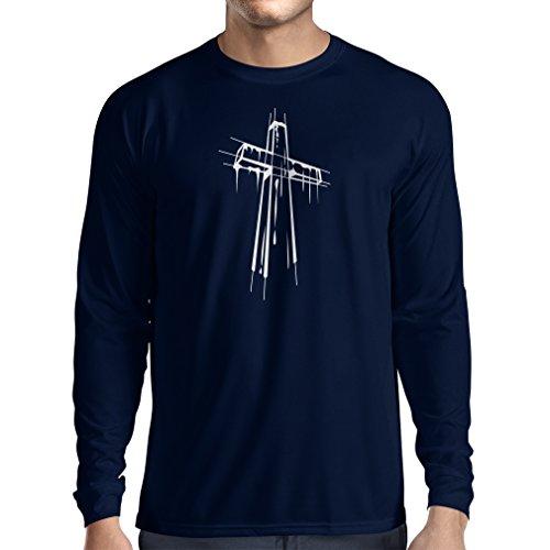 Langarm Herren t shirts Beunruhigtes Kreuz - Eeligiöse Geschenke, Christliches Kleid Blau Mehrfarben