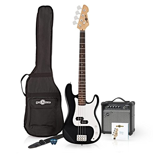 LA Bass Guitar + 15W Amp Pack Black