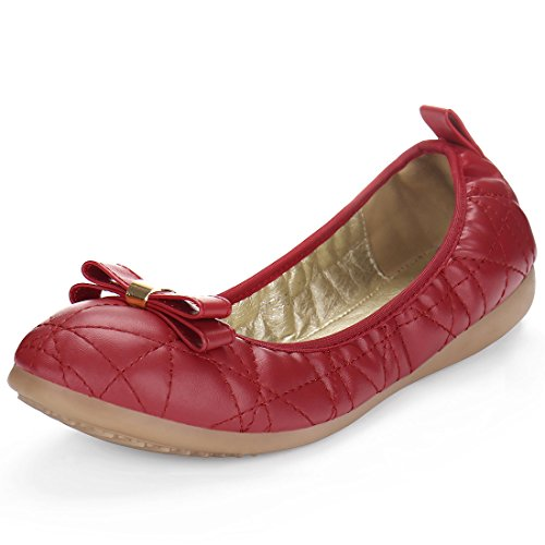 Allegra K Women's Quilted Bow Detail Foldable Ballet Flats (Size US 6)...