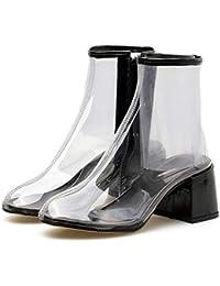 DLBJ Botines de Película de PVC Transparente Para Mujer / 6cm de Espesor Zapatos de Tacón