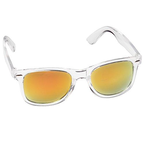 Hochwertige Sonnenbrille Retrobrille Vintage Stil Damen & Herren Unisex Nerdbrille (transparent und rot-orange verspiegelt)