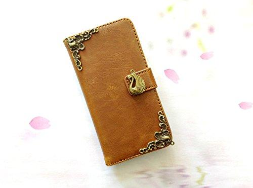 Schwan Handy Leder Brieftasche Fall, handgemachte Handy Brieftasche Abdeckung für iPhone SE 5 5s 5c 6 6s 7 Plus Samsung Galaxy S8 S8 Plus S7 Edge S6 Edge S5 Note 5 Note 4 Case Cover, MN0269