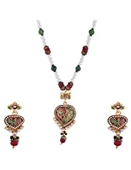 Ganapathy Gems Gold Plated Pandent Set With Red And Green Enamel And Beads Chain
