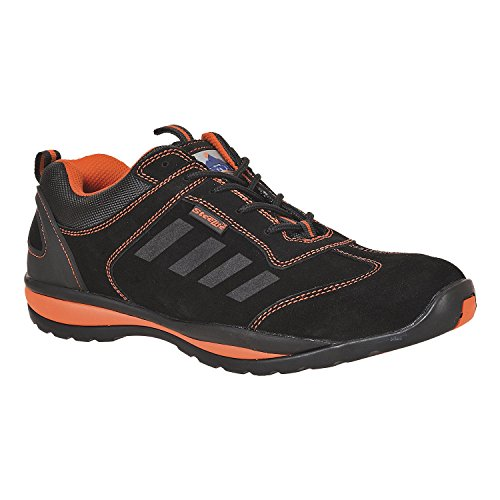 Portwest FW34ORR38 Steelite Lusum Safety Trainer, S1P HRO, Regular, Size: 38, Black/Orange