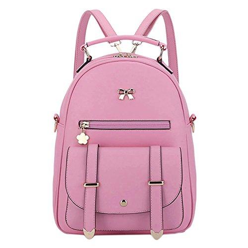 Damen Lässig Rucksack PU Einfach Campus Backpack Rot Pink