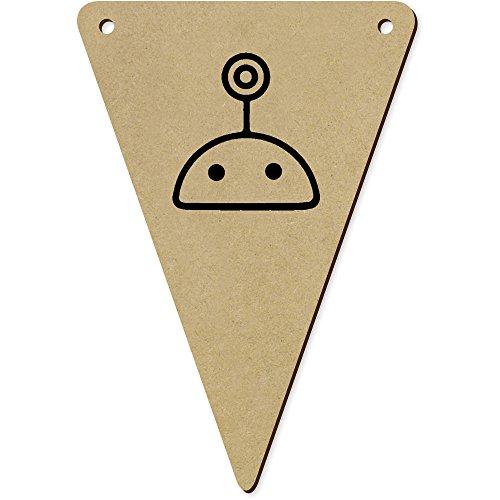 Azeeda 5 x 140mm 'Tête Robot' Fanions Triangles en Bois (BN00046215)