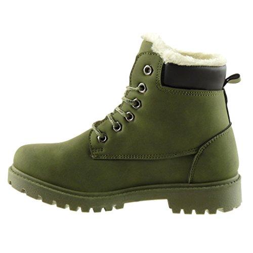 Angkorly - damen Schuhe Stiefeletten - Combat Boots - Biker - Schneestiefel - Nieten - besetzt - Pelz Blockabsatz 2.5 CM Grüne