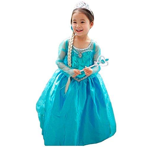 Imagen de disfraz elsa frozen con varita y corona 110 3 4 años