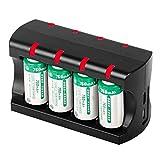 Reuvv 5V 300mAh Batería LI-ION 8 Ranuras Cargador de Batería con USB Carga Puerto para CR123A...